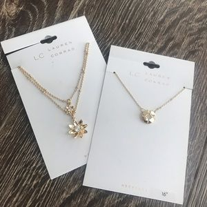 LC Lauren Conrad Floral & Compass Necklace Bundle